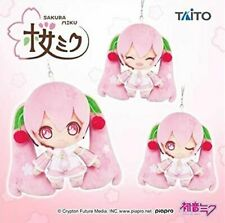 Soft Plush /& Acrylic KeyChain New Taito 3 Set Sakura Miku Mascot 2020ver