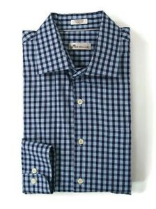 Peter-Millar-Mens-Size-XL-Navy-Blue-Check-Button-Up-Long-Sleeve-Shirt