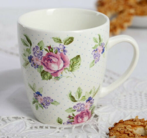 French Country Style Teacup 12 fl oz Ceramic Coffee Mug with Floral Pattern