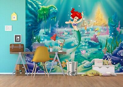 Disney Wall Mural Wallpaper Children's Bedroom Ariel Mermaid Premium Blue
