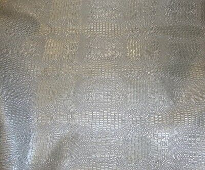 upholstery vinyl Faux Leather fabric Reptile Skin Silver embossed by the yard 55