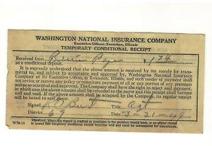 1949 Washington National Insurance Receipt Nashville TN Tennessee to Bess Pope