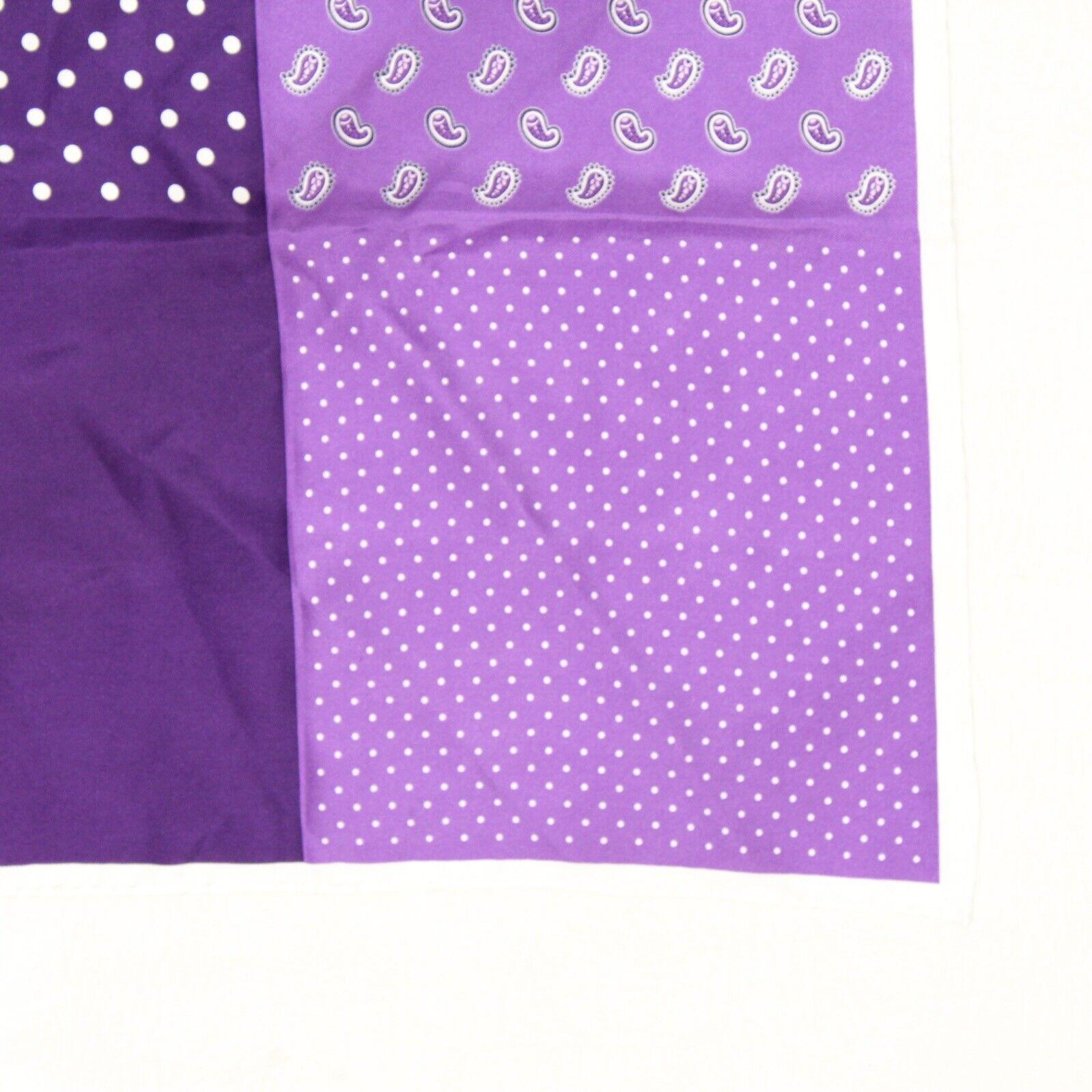 Mens Silk Pocket Square Purple White Polka Dot Pindot Pois Paisley Rolled Edge