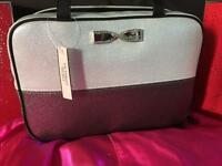 Victoria's Secret White Silver Metallic Leather Fold Out Hanging Bag Makeup