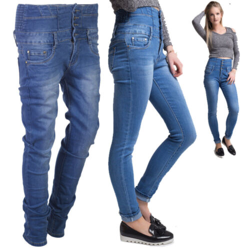 NEW WOMEN 4 BUTTON HIGH WAIST STRETCHY SKINNY JEANS LADIES JEGGING PANT XS-XL
