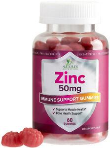 Zinc Gummies Extra Strength 50mg, Immune System Booster Supplement, Premium
