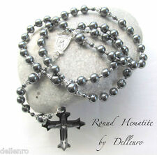 ✫HEMATITE✫  MEN'S  BLACK ROUND HANDCRAFTED ROSARY (Gift boxed)
