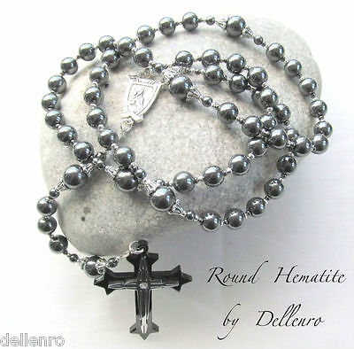✫HEMATITE✫  MEN/'S BLACK DRUM SHAPED HANDCRAFTED ROSARY Gift boxed