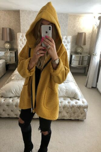 NUOVI Sandali Donna Cindy Nero Teddy Coatigan Cappotto Inverno Caldo Lana Giacca Cappotto UK 8-16