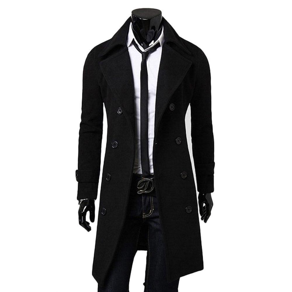 1 sur 10Livraison gratuite Neuf pour Homme Long Trench-Coat Veste Double  Boutonnage Manteau Coupe-Vent Pull 458b7297d3a5
