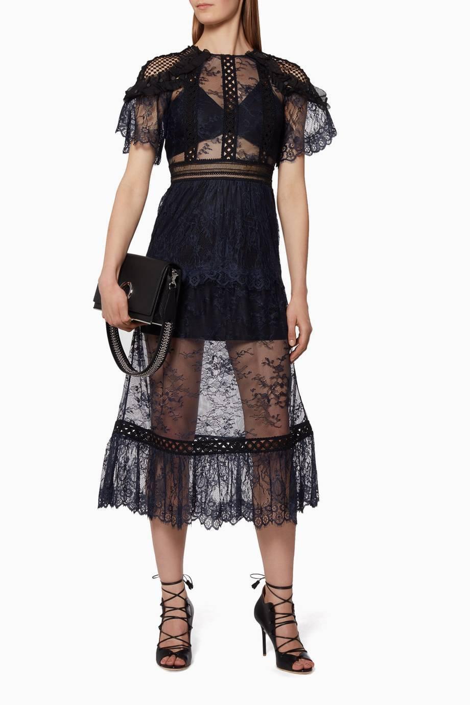 SELF-PORTRAIT Frill Shoulder Fine Lace Dress Size  US 6