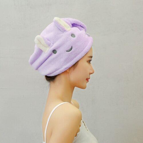 Coral Fleece Quick Dry Shower Hair Drying Wrap Cap Turban Towel Button Bath Spa