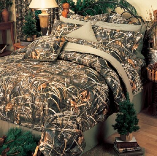 Realtree Max 4 Camo 9 Pc Queen Comforter Set - Cabin Lodge Camouflage Bedspread
