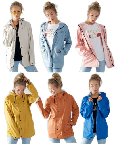 New Womens PU Rubber Hooded Festival Raincoat Mac Ladies Jacket with Drawcord