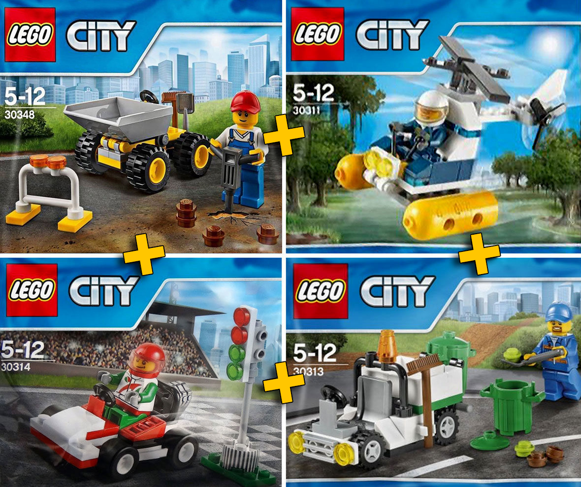 LEGO City   Police   Construction   Racing - Pack 4 Sets City Collection - NEW