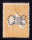 Australia 1929 Kangaroo 5/- Grey & Yellow-Orange SMW Perf OS CTO - Variety
