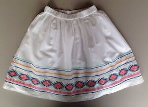 Girls-Lands-End-Size-Small-7-8-White-Embroidered-Skirt-Lined-Above-Knee-Cotton