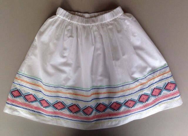Girls Lands End Size Small 7-8 White Embroidered Skirt Lined Above Knee Cotton