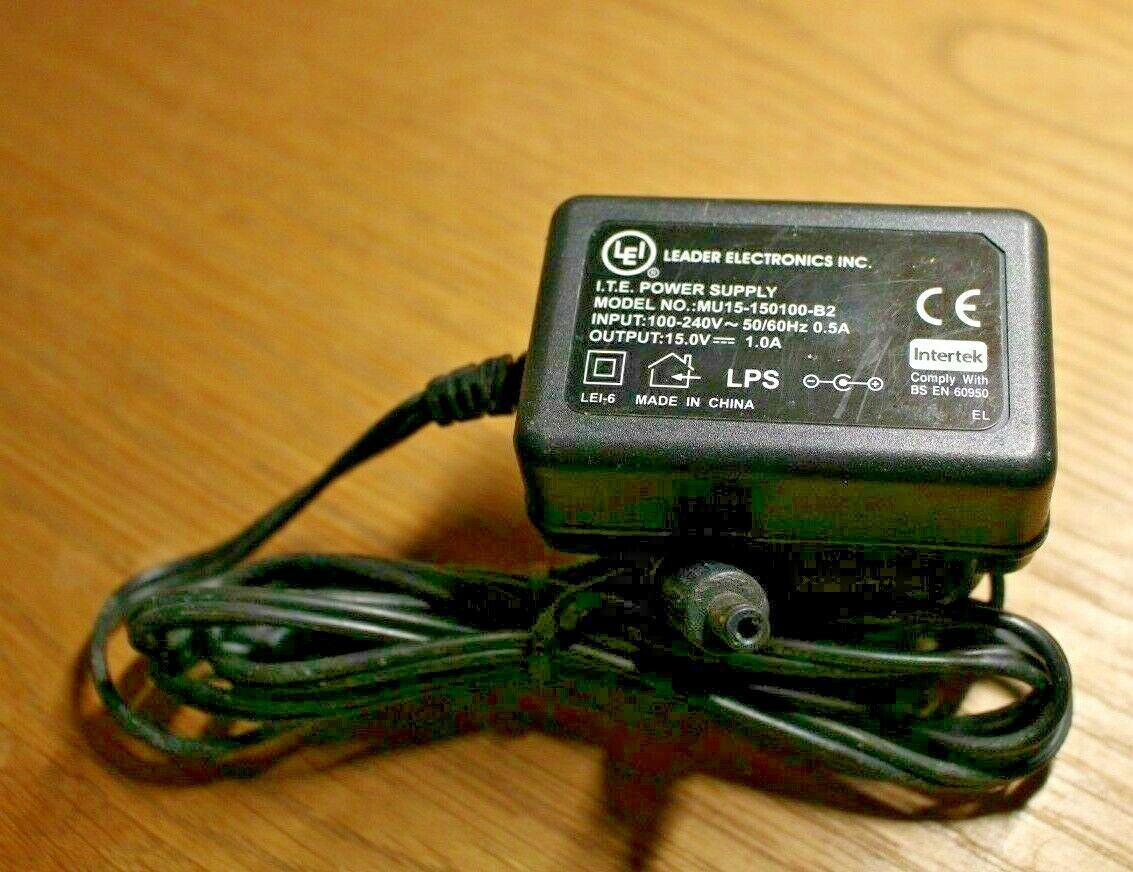 Leader Electronics Inc MU15-150100-B2 15.0V 1.0A I.T.E UK Mains Power Adapter