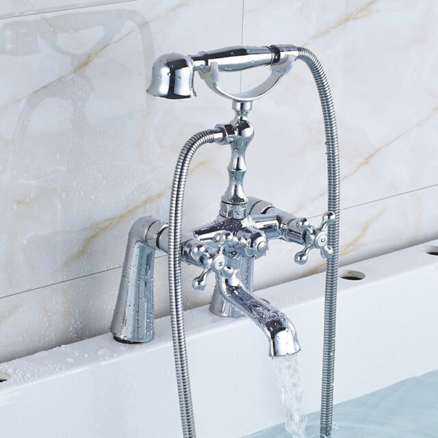 Polished Chrome Deck Mounted Bathroom Tub Faucet Hand Shower