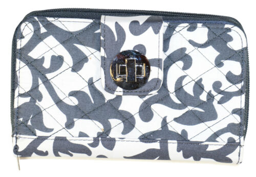 Grey Damask Womens Ladies Quilted Trifold Wallet Clutch Long Checkbook Zipper