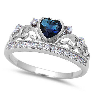 Blue Sapphire & Cz .925 Sterling Silver Ring Sizes 4-11