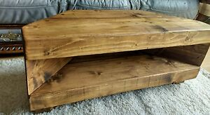 Corner Rustic Pine Tv Unit Solid Chunky Wood Stand Cabinet Rustic