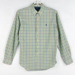Ralph-Lauren-Mens-Oxford-Shirt-Green-Blue-Plaid-Long-Sleeves-Custom-Fit-L