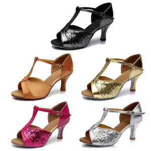 e9f563a3530 Details about Brand New Women's Ballroom Latin Tango Dance Shoes heeled  Salsa 4 Colors 259-S