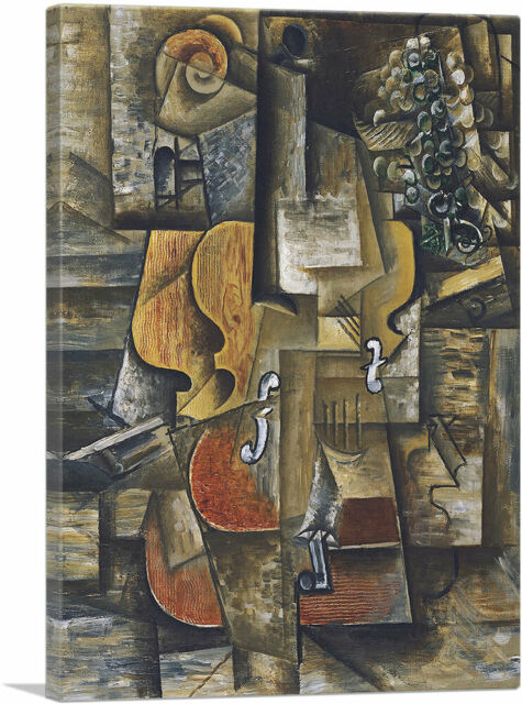 Violin AND Grape Paint By Pablo Picasso Reprint On Framed Canvas Wall Art Decora