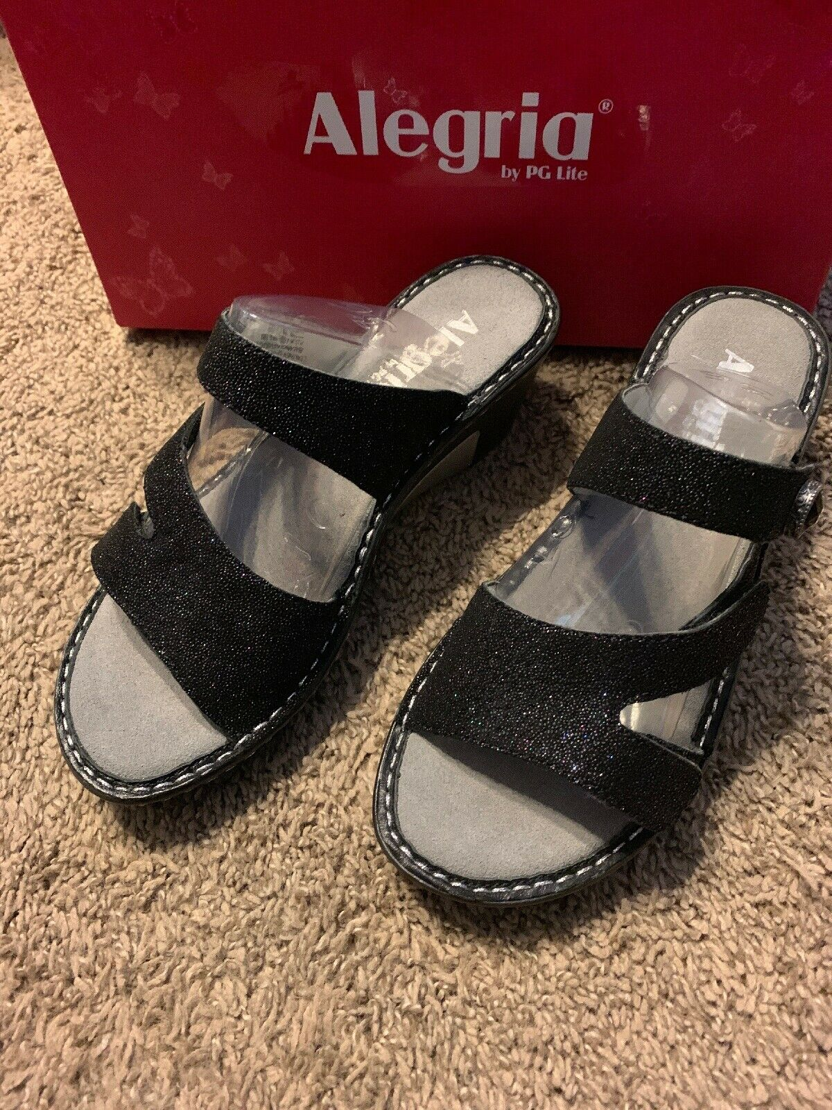 Alegria Loti Glitteredi Black Shimmer Leather Sandals Sz.36 Sz6-6.5 New Lot-699