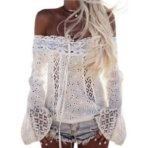 930dca27c9298 Eyelet Lace Womens Blouse Cold Shoulder Peasant Top Bell Sleeve Boho ...