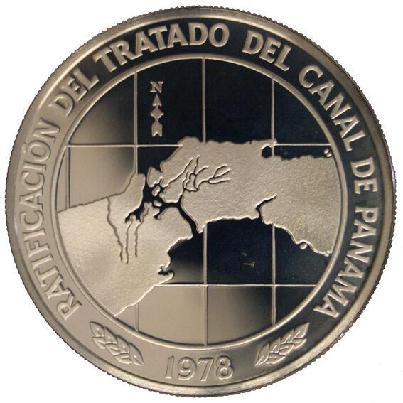 Panama 10 Balboas 1978 Canal Treaty Ratification Argento Silver #536