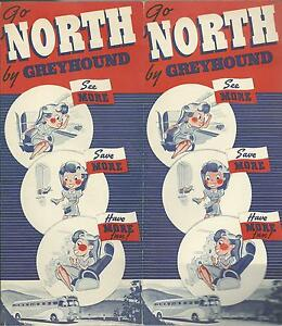 Details about Greyhound Bus Vintage 1939 Brochure Northern Trips From  Florida Photos Route Map