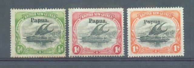 Papua 1906-7 sg.21-2 and 44 (thick paper)  MH