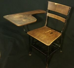 Image Is Loading Vintage Old School Chair Youth Student Desk Kids