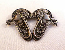 Unger Brothers Art Nouveau Rare Double Faced Brooch/Pin