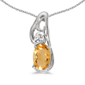 14k-White-Gold-Oval-Citrine-And-Diamond-Pendant-with-18-034-Chain
