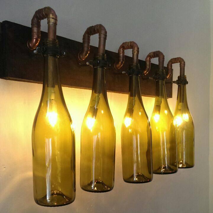 Bouteille vin mur de lumière, lumière, lumière, socle en bois avec tuyau cuivre, Bar et Pub éclairage unique | Simple D'utilisation  d6cc57
