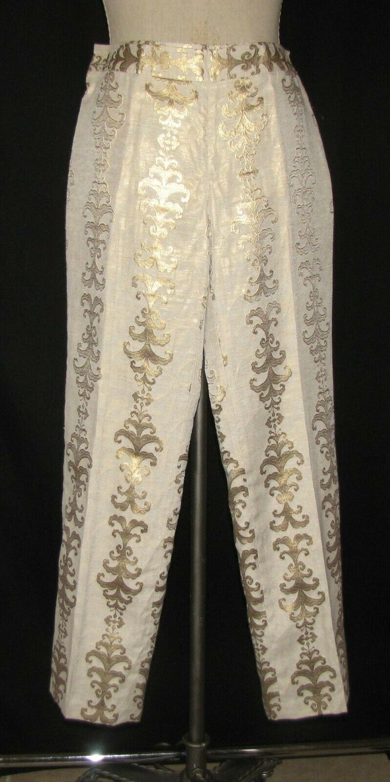Tory Burch Beige w Metallic Gold Scroll-Like Design Ankle Cropped Trouser Pant 4