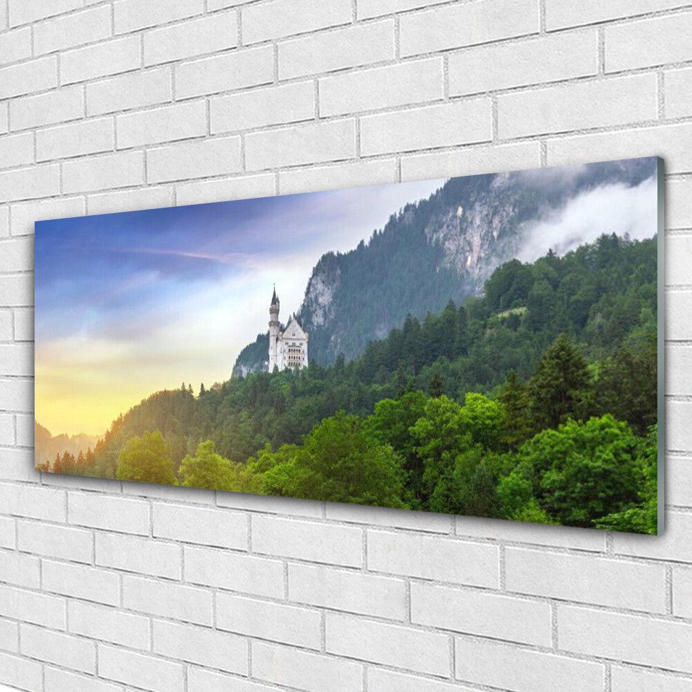 Tableau murale Impression sous verre 125x50 Paysage Montagnes Forêts