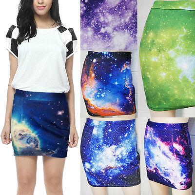 Women's Psychedelic Digital Galaxy Starry Sky Print Elastic Mini Skirt A-line US
