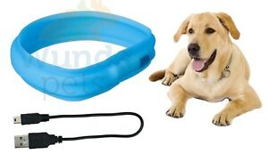 TRIXIE-LIGHT-UP-FLASHING-USB-CHARGE-LONG-HAIR-DOG-PUPPY-WINTER-COLLAR-3-SIZES-HS