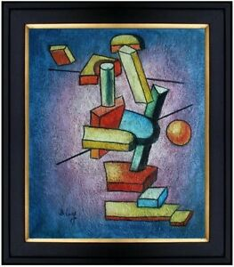Framed-Building-Blocks-Abstract-Hand-Painted-Oil-Painting-20x24in