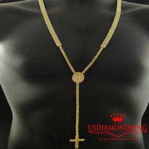 269924a3ba5b Detalles de Tenis Eslabón Canario Simular Cruz Diamante Diseñador Rosario  Collar de Cadena