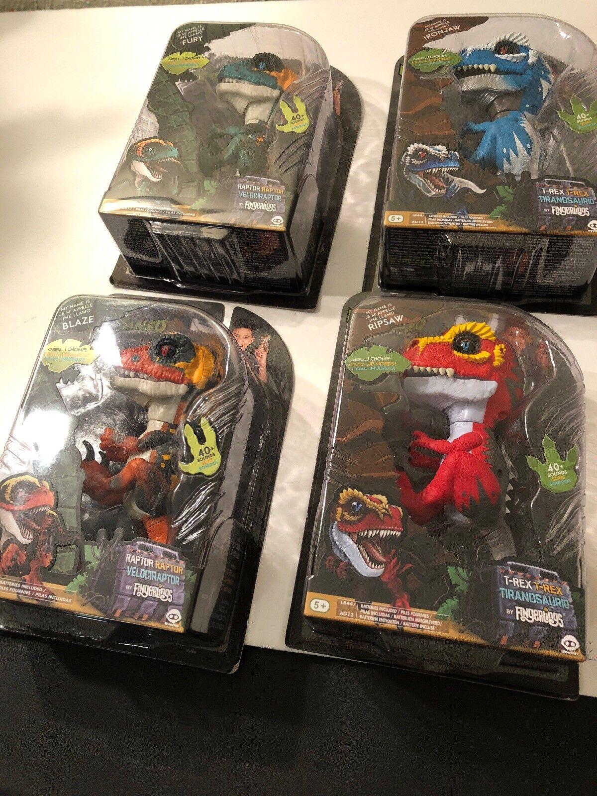 4 Untamed Fingerlings T-REX Dinosaurs Blaze Ripsaw Fury IronJaw - FAST SHIPPING