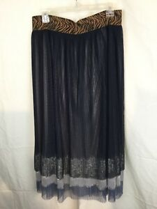 Athena-Marie-Layered-Pleated-Lined-Lace-Embellished-Midi-Skirt-Size-L