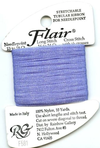 Rainbow Gallery Flair #F581 Med Periwinkle Tubular Nylon Glimmer Net Needlepoint