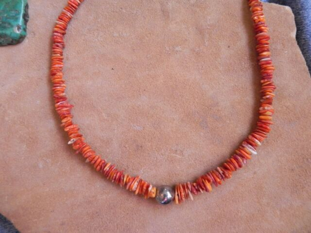 "Orange Spiny Oyster & Sterling Silver Bead Necklace 18"" Santo Domingo"
