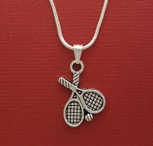 Tennis-Rackets-and-Ball-Necklace-Charm-Pendant-and-Chain-racquets